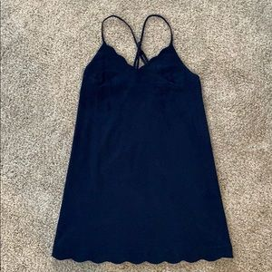 LULUS - Navy Suede Scalloped Dress